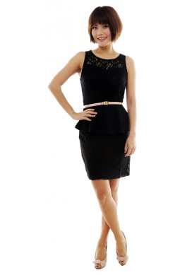 Paulette laced peplum dress (black)