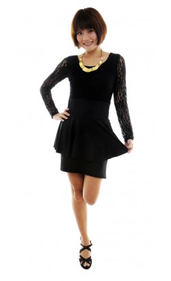 Lysa black lace dress