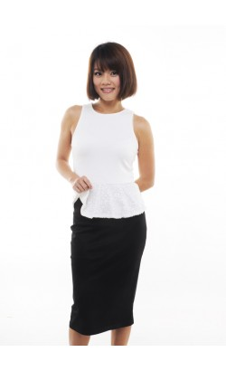 Karol sequin peplum top (white)