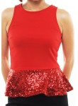 Karol sequin peplum top (red)