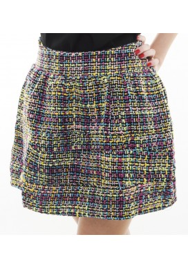 Tresa tweed flare skirt (teal)
