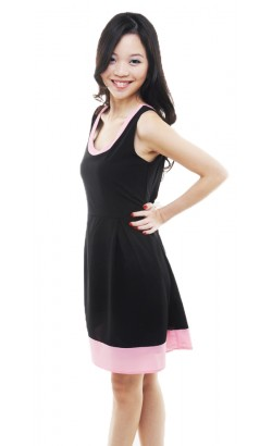 Fleur black skater dress (pink)