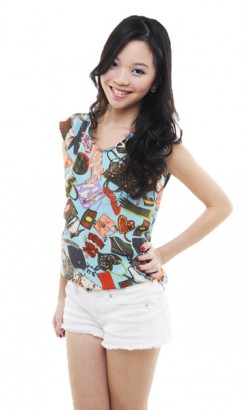 Syshe shopping queen prints top (tiffany blue)