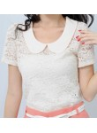 Roseanne flower lace top (peach collar)