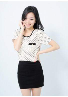 Arielle polka dot top (beige)