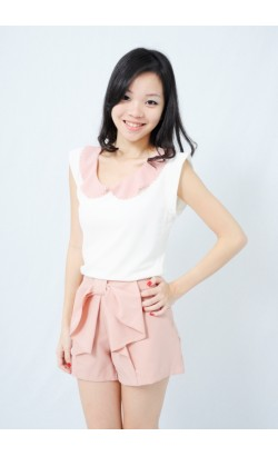 Delanna pink butterfly collar top