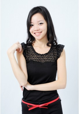 Hermaine glitter lace top (black)