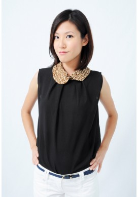 Luisa leopard collar top