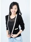 Arielle gold button cardigan (black)