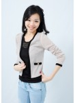 Arielle gold button cardigan (beige)