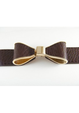 Brown Ribbon Bow Belt