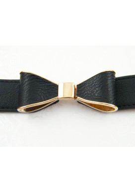 Black Ribbon Bow Belt
